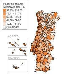 Mapa com o ranking do poder de compra